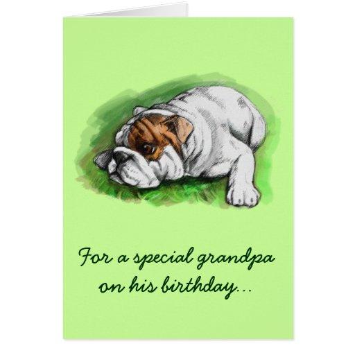 Happy Birthday Grandpa: Bulldog Greeting Card