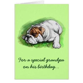 Happy Birthday Grandpa Bulldog Greeting Card