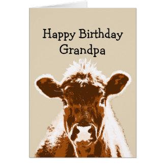 Happy Birthday Grandpa Cow Joke Humor Greeting Card