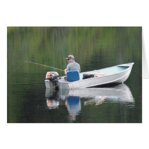 Happy Birthday Grandpa Fishing on Lake in Boat Cards