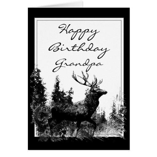 Happy Birthday Grandpa Vintage Stag, Deer Animal Greeting Card