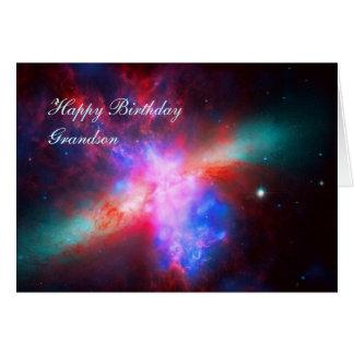 Happy Birthday Grandson - Cigar Galaxy Greeting Card
