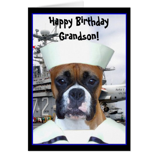 Happy Birthday Grandson Navy boxer greeting card