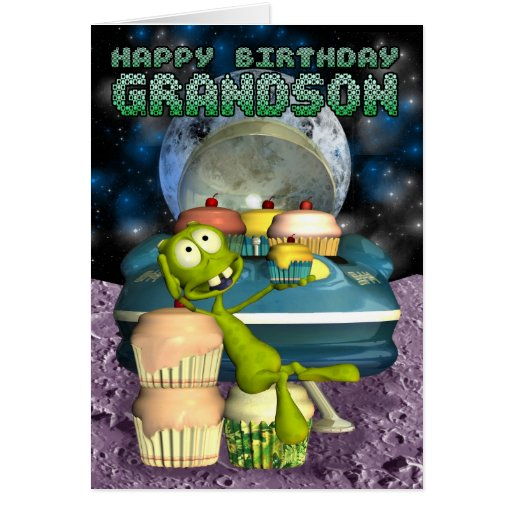 Happy Birthday Grandson, Out of this world, alien Greeting Card