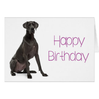 Happy Birthday Great Dane Puppy Dog Card - Verse