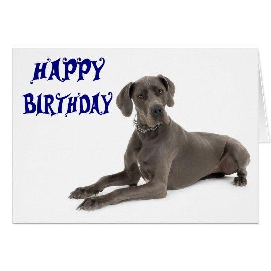 Happy Birthday Great Dane Puppy Dog Card -
