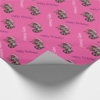 Happy Birthday! Greedy Raccoon Cake Cartoon Wrapping Paper