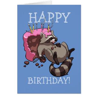 Happy Birthday! Greedy Raccoon Eating Cake Cartoon Card