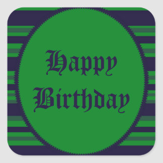 Happy Birthday green blue stripes Square Sticker