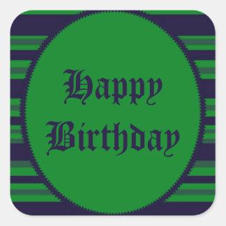 Happy Birthday green blue stripes Square Sticker