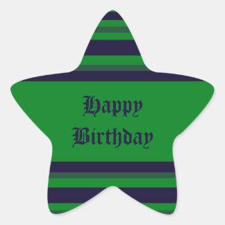 Happy Birthday green blue stripes Star Sticker