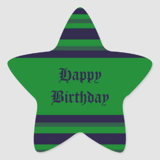 Happy Birthday green blue stripes Stickers