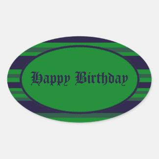 Happy Birthday green blue stripes Stickers