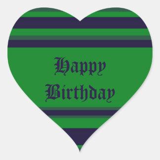 Happy Birthday green blue stripes Heart Sticker