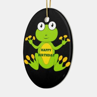 Happy Birthday Green Frog Ceramic Oval Decoration