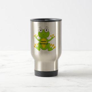 Happy Birthday Green Frog Travel Mug