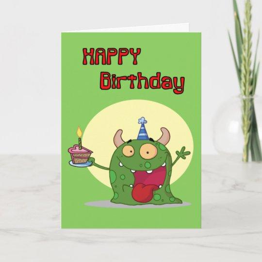 Happy Birthday Green Monster Card