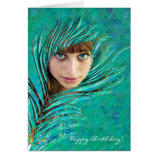 Happy Birthday ! - Green peacock photo card