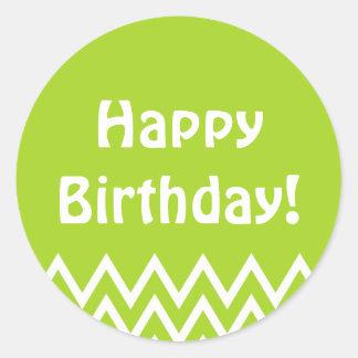 Happy Birthday - Green Round Sticker