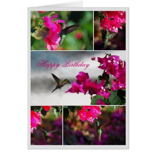 Happy Birthday Green-throated Carib Hummingbird Card
