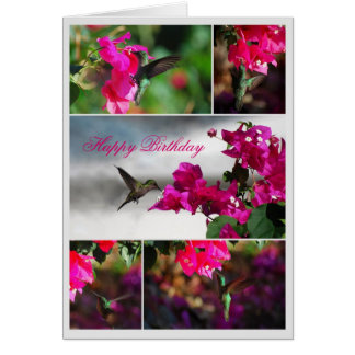 Happy Birthday Green-throated Carib Hummingbird Greeting Card