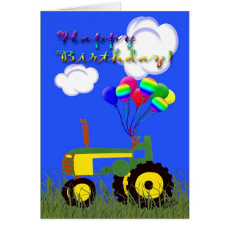 Happy Birthday Green Tractor Card