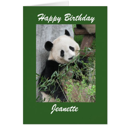 Happy Birthday Greeting Card Panda, Green Border