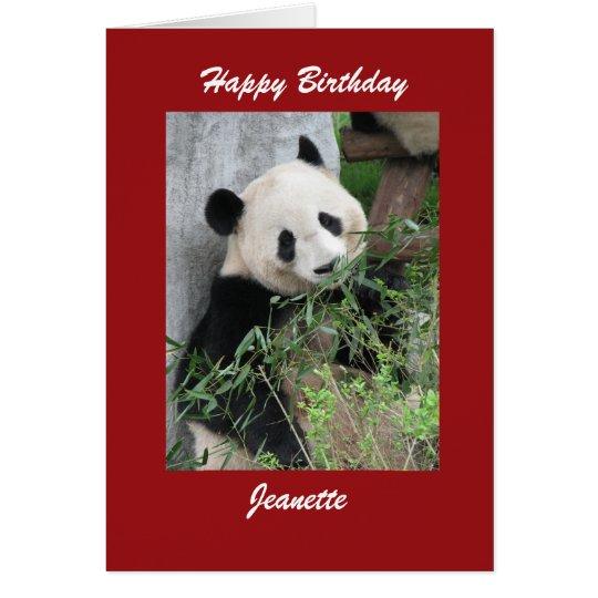 Happy Birthday Greeting Card Panda, Red Border