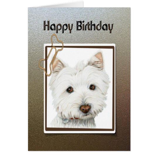 Happy birthday greeting card, with cute westie dog