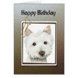 Happy birthday greeting card, with cute westie dog greeting card