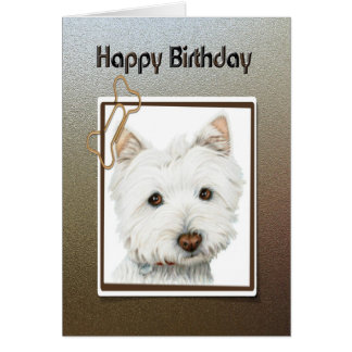 Happy birthday greeting card, with cute westie dog greeting card