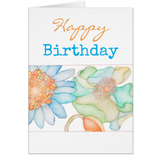 Happy Birthday greeting card with flowers