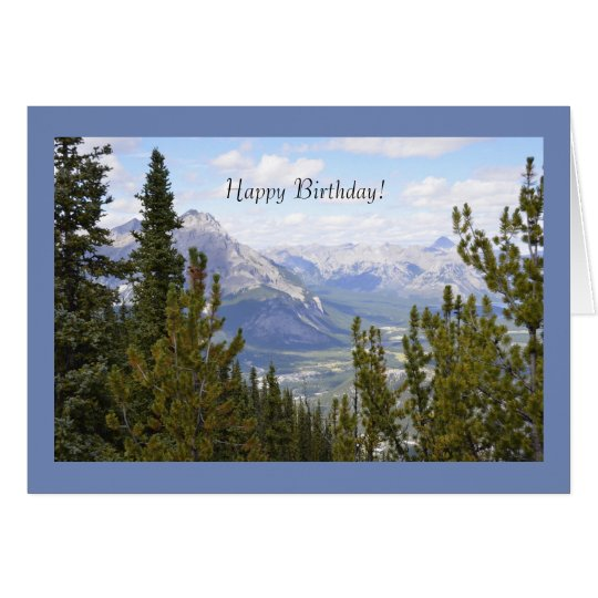 Happy Birthday Greeting Card with Mountains