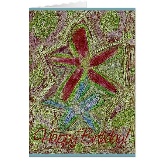 Happy Birthday Greeting Cards - Two Pastel Flowers