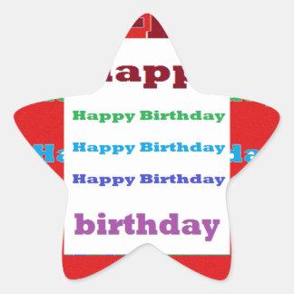 Happy Birthday Greeting Script Acrylic Red base 99 Star Sticker
