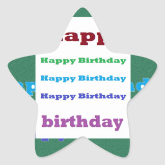 Happy Birthday Greeting Script Text Green base fun Star Sticker