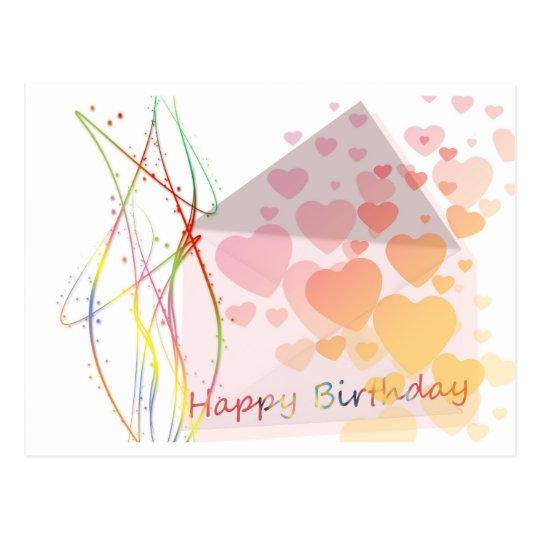 Happy Birthday Greetings Hearts Love Postcard
