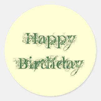Happy Birthday, grunge look in green & yellow Round Sticker