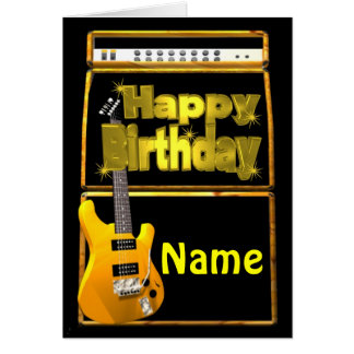 Happy Birthday Guitars with add name Greeting Card