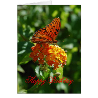 Happy Birthday Gulf Fritillary Butterfly,  Lantana Greeting Card
