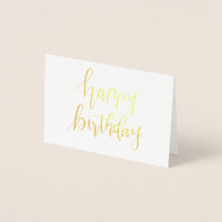 Happy Birthday, Hand Lettered Gold Foiled Card