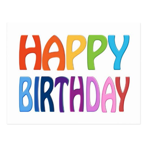 Happy Birthday - Happy Colourful Greeting Post Cards