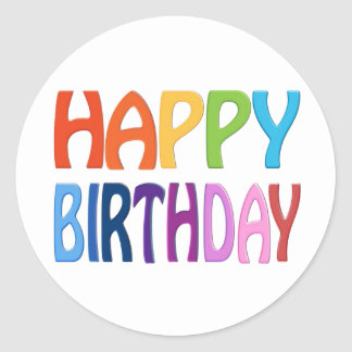 Happy Birthday - Happy Colourful Greeting Round Sticker