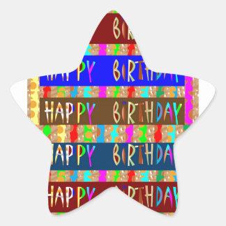 HAPPY Birthday HappyBirthday : Artistic Script Star Sticker