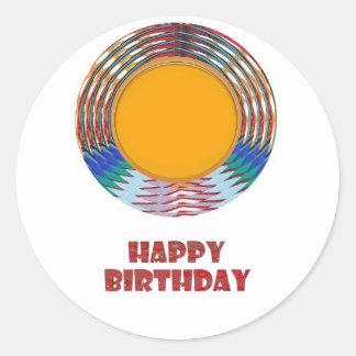 HAPPY BIRTHDAY HappyBirthday TEXT n ARTISTIC BASE Classic Round Sticker