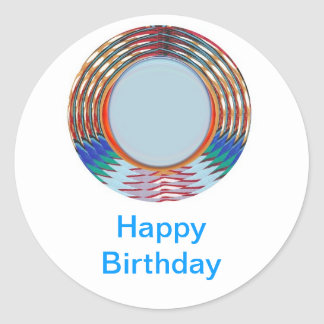 HAPPY BIRTHDAY HappyBirthday TEXT n ARTISTIC BASE Round Stickers