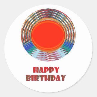 HAPPY BIRTHDAY HappyBirthday TEXT n ARTISTIC BASE Round Sticker