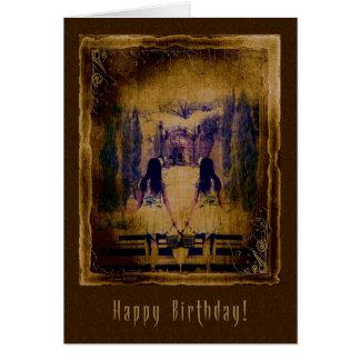 Happy Birthday  Haunting Spooky Girls Greeting Card