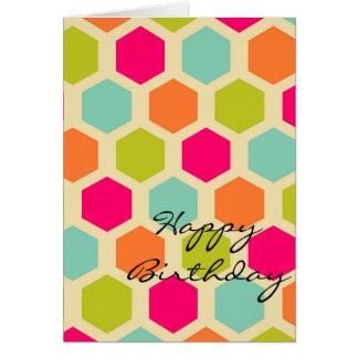 Happy Birthday Hexagon Pattern Greeting Card