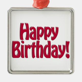 Happy Birthday HOBO Text - Red Christmas Ornament